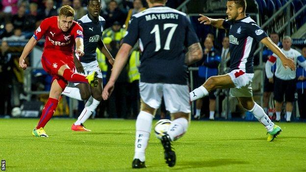 Lewis Macleod scores for Rangers against Falkirk