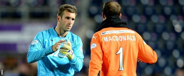 Rangers goalkeeper Cammy Bell and Falkirk counterpart Jamie MacDonald