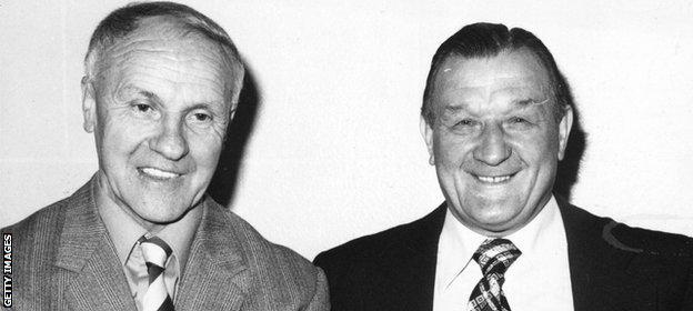 Bob Paisley celebrates his 40th year at Liverpool with former manager Bill Shankly