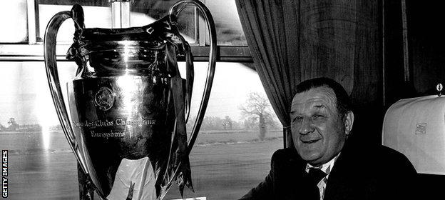 Bob Paisley poses with the European Cup