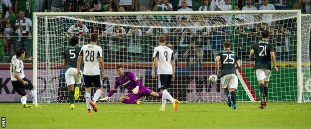 Legia Warsaw's Ivica Vdoijak misses a penalty against Celtic