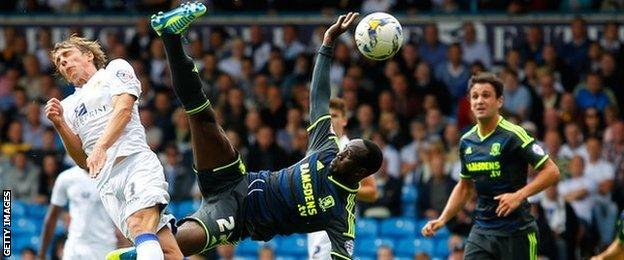 Middlesbrough midfielder Albert Adomah produces an acrobatic effort to score but his effort is ruled out