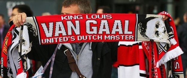 Louis van Gaal scarf on sale outside Old Trafford