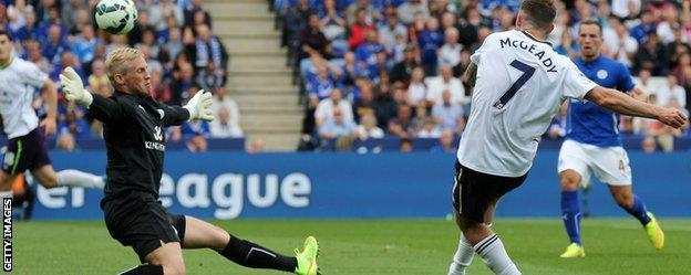 Aiden McGeady scores against Leicester