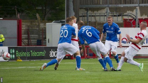 Darian MacKinnon scores for Hamilton against St Johnstone