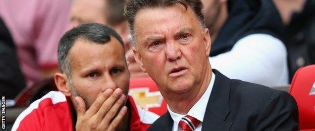 Ryan Giggs and Louis van Gaal on the bench at Old Trafford