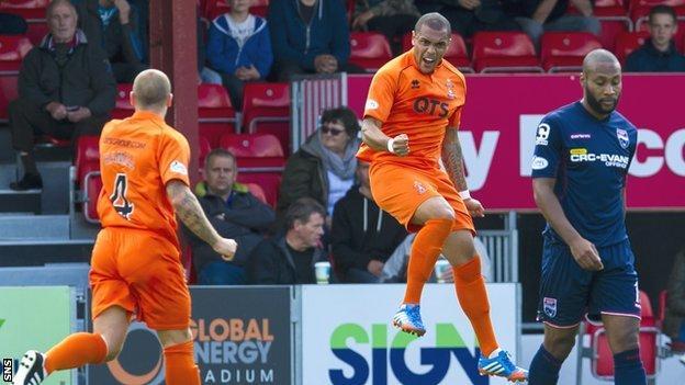 Josh Magennis jumps for joy after scoring for Kilmarnock