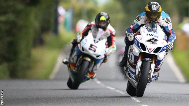 Bruce Anstey passed Guy Martin in the closing stages of the opening Superbike race at the Ulster Grand Prix