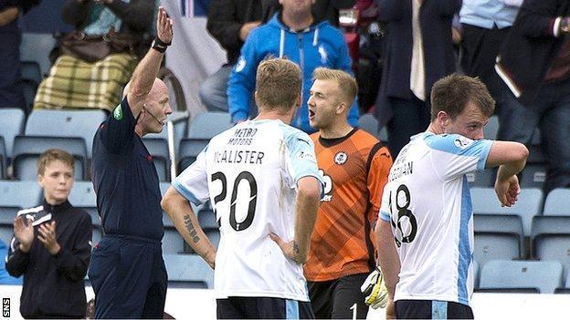 Thistle goalkeeper Scott Fox is sent off by referee Craig Charleston