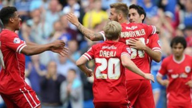 Cardiff City players celebrate Peter Whittingham's goal