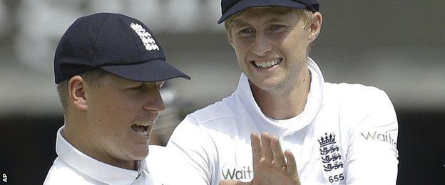 Gary Ballance (left) and Joe Root of England