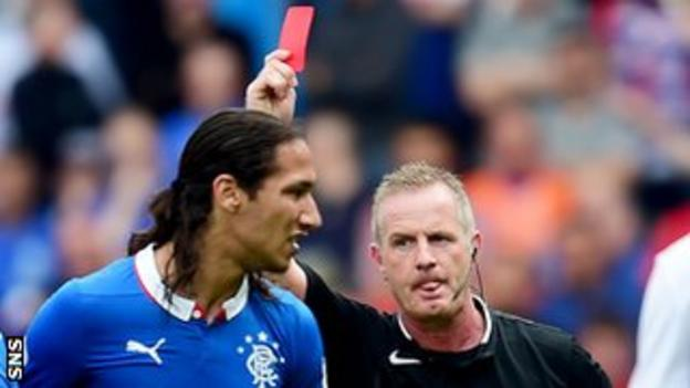 Rangers' Bilel Mohsni is red-carded in the friendly defeat by Derby County