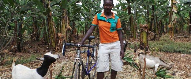 Clementine Niyonsaba bought goats with her cycle race winnings