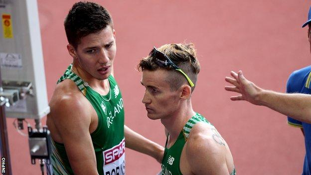Paul Robinson finished fourth in the 1500m final after Ciaran O'Lionaird fell on the penultimate lap