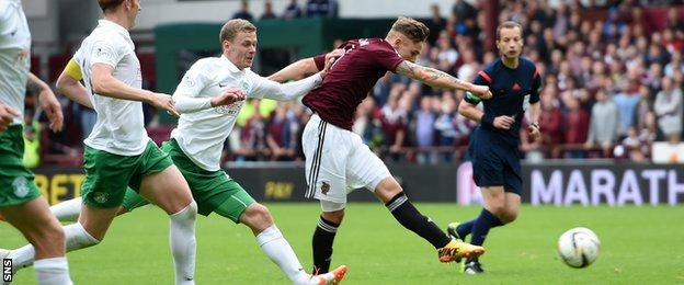 Sam Nicholson blasts home for Hearts