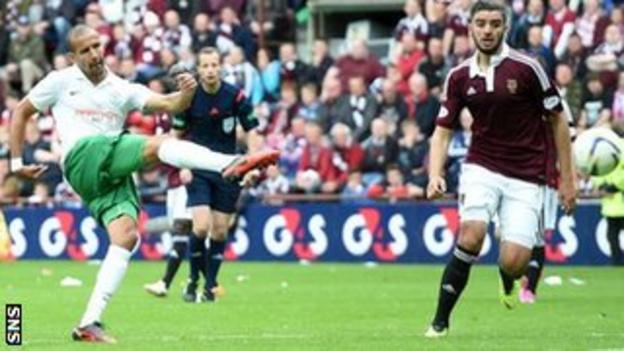 Farid El Alagui cracks in a beauty of a consolation goal for Hibs