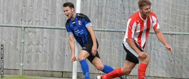 Brody Robertson after his goal in Cleethorpes Town's 4-1 victory over Borrowash Victoria