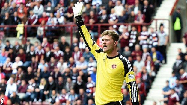 Hearts goalkeeper Jack Hamilton