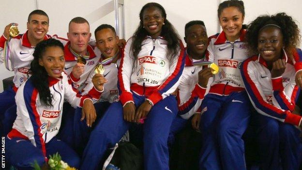 GB men and women's 4x100m relay teams