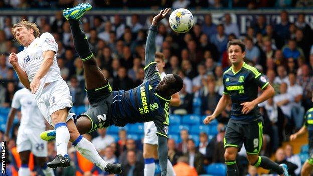 Albert Adomah went airborne to shoot against Leeds