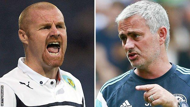 Burnley boss Sean Dyche (left) and Chelsea counterpart Jose Mourinho