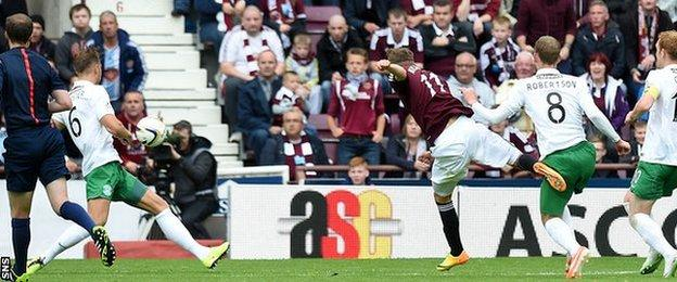 Sam Nicholson's strike lit up the match at Tynecastle