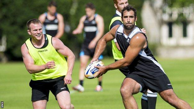 Glasgow Warriors in training