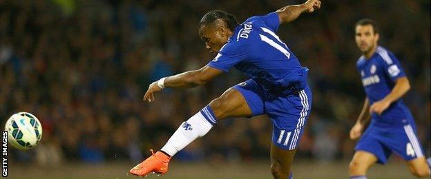 Didier Drogba goes close for Chelsea