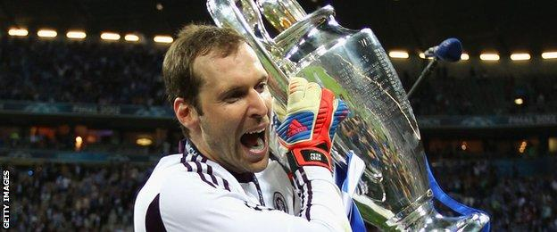 Chelsea keeper Petr Cech celebrates winning the Champions League in 2012