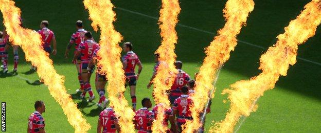 Leeds Rhinos walk onto the Wembley pitch to fireworks in 2012