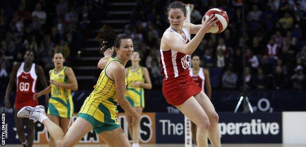 Karen Atkinson playing for England