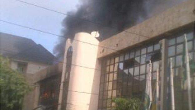 Nigeria Football Federation building on fire
