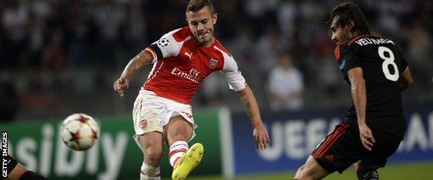 Jack Wilshere had Arsenal's first shot on target after 39 minutes