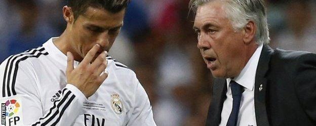 Cristiano Ronaldo and Carlo Ancelotti