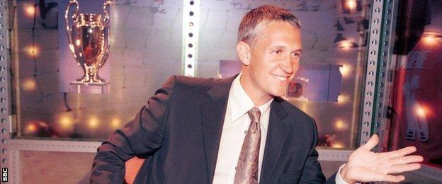 Gary Lineker on the Match of the Day set in 2000