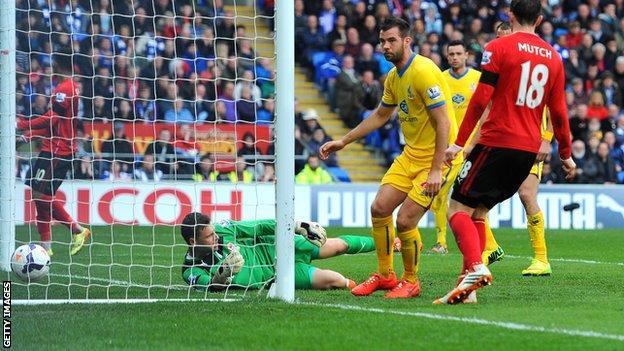 Crystal Palace's Joe Ledley scores against Cardiff City