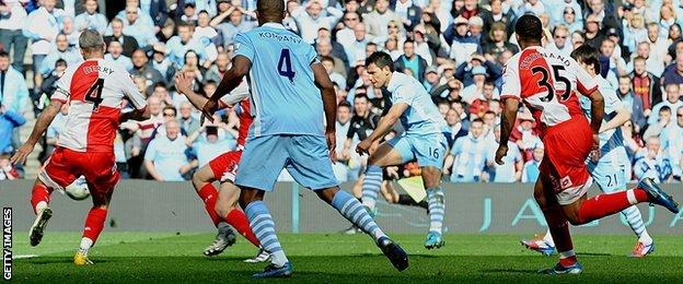 Sergio Aguero scores the goal that won the title for Manchester City in 2012