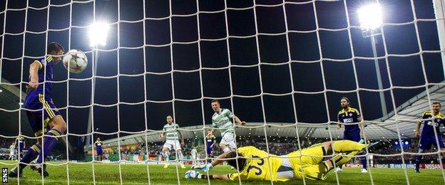 Callum McGregor scores for Celtic against NK Maribor