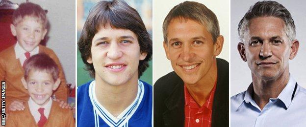 L-R Gary Lineker (front, with brother Wayne) as a boy, a player for Leicester, a BBC pundit and now Match of the Day presenter