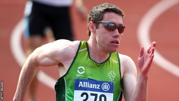 Jason Smyth in action in the T12 200m in Swansea on Thursday