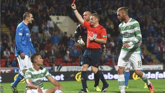 Referee John Beaton sends off Dave Mackay