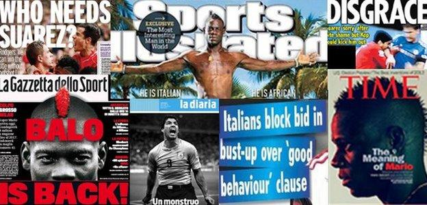 Luis Suarez and Mario Balotelli make headlines on newspapers