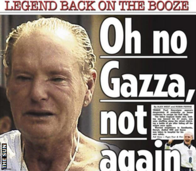 The Sun's front page also carried a story on Paul Gascoigne