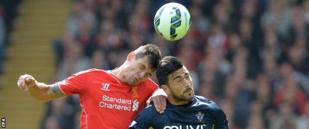 Dejan Lovren in action for Liverpool against his former club Southampton