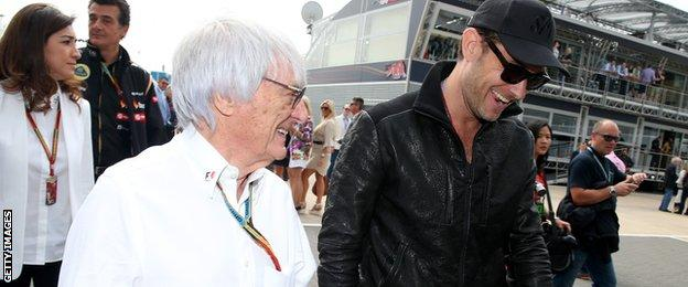 Bernie Ecclestone and Jude Law