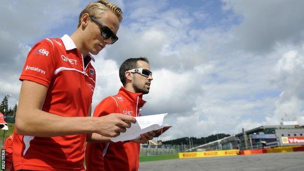 Max Chilton walks the Spa course ahead of the Belgian Grand Prix