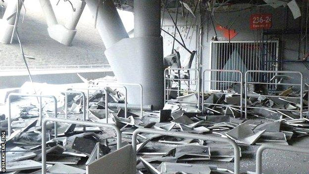Damage at Shakhtar Donetsk's Donbass Arena