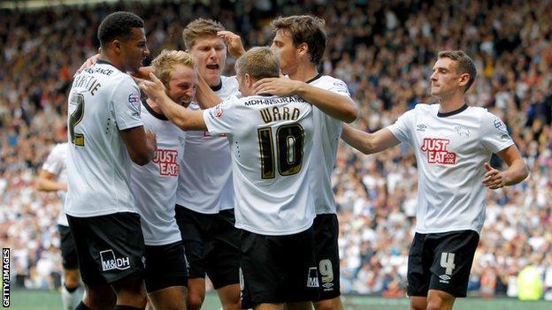 Derby celebrate after Jamie Ward goal