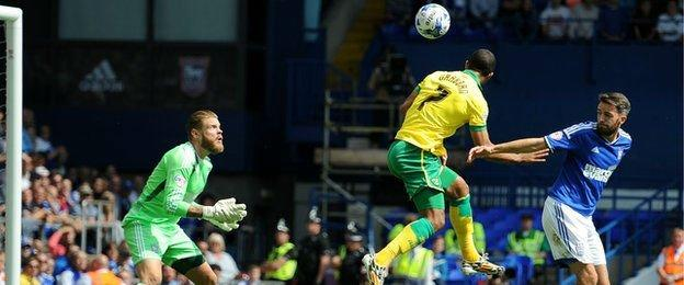 Lewis Grabban heads Norwich into the lead