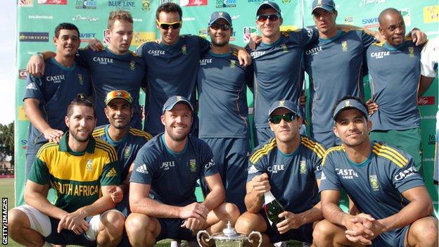 South Africa celebrate winning the one-day series